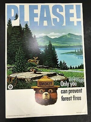 Vintage Smokey Bear Please 1964 Paper Poster Forestry Service