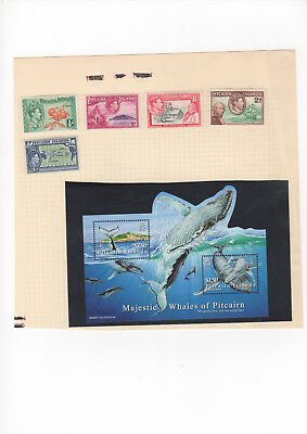 Two Very Nice Pitcairn Island album pages with Mint Whales Minisheet