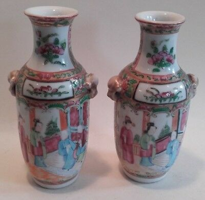 Antique Pair of Chinese Porcelain Rose Medallion Vases / figures ~ 19thc Canton