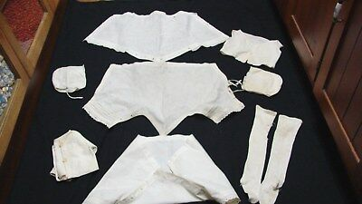 ANTIQUE 1800s LOT BABY CLOTHES china button diapers stockings bonnets camisole