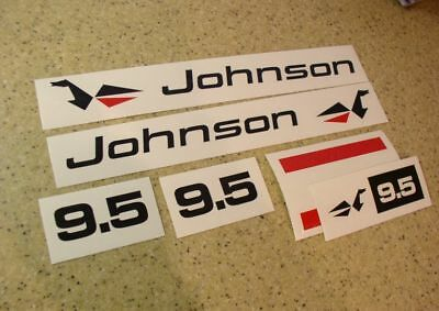 Johnson Outboard Decal Set 6-Piece Die-Cut FREE SHIP + FREE Fish Decal!