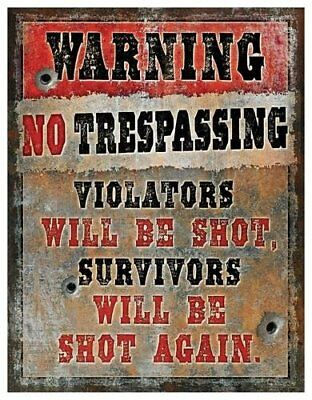 """6159 Heavy Metal Trespassing Sign by Rivers Edge 12"""" X 15.5"""""""