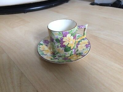 James Kent Primula Chintz Coffee Can Saucer Demitasse Art Deco Period