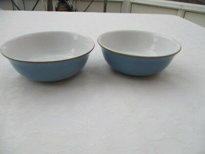 """denby colonial blue 2 bowls 6.5"""" very good used condition"""