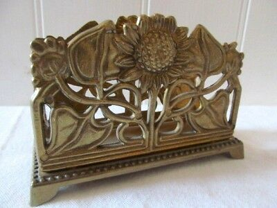 Solid Brass Art Nouveau Sun Flower Design Letter Rack Holder.desk Tidy