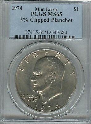 1974 Eisenhower Dollar IKE PCGS MS65 2% Clip (Incomplete Planchet)