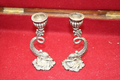 Vintage Silver Plated Dolphin Candlesticks Candle Holders Pair