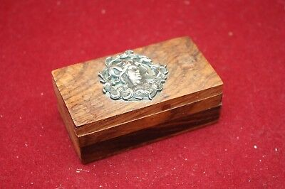 Vintage Art Nouveau Wooden Trinket Box with Silver Plated Motif
