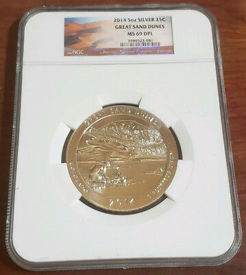 2014 Great Sand Dunes 5Oz Silver Quarter Ngc Ms-69Dpl #81