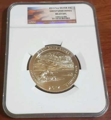 2014 Great Sand Dunes 5Oz Silver Quarter Ngc Ms-69Dpl #84