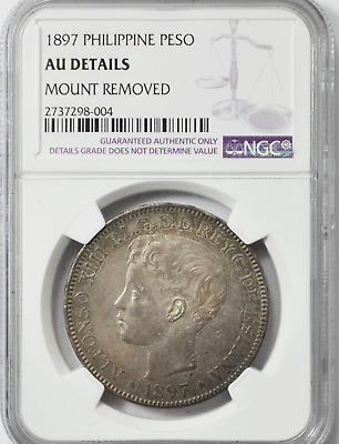 1897 SGV 1P Philippines One Peso Silver Coin KM#154 NGC AU Details