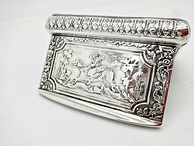 Gorgeous Antique French 950 Silver Snuff Box W/horse & Rider At Full Gallop