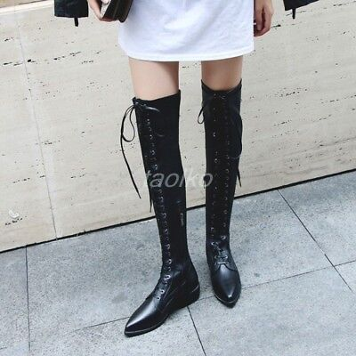 254b23919f8 Women s Pointy Toe Lace Up Over Knee Thigh Boots Low Block Heel Stretch  Shoes sz