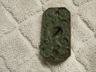 """Antique Victorian Bronze Brass Very Ornate Key Small Back Cover Plate 1 7/8"""" 1"""""""
