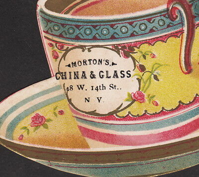 Mortons China & Glass Store 48 W 14th St NY 1800s Tea Cup Die-Cut Victorian Card