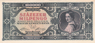 100 000 Milpengo From Hungary 1946 Vf+ Banknote!pick-127