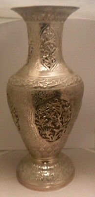 Superb Persian India Repousse Pierced Decorated Solid Silver Vase Birds Flowers