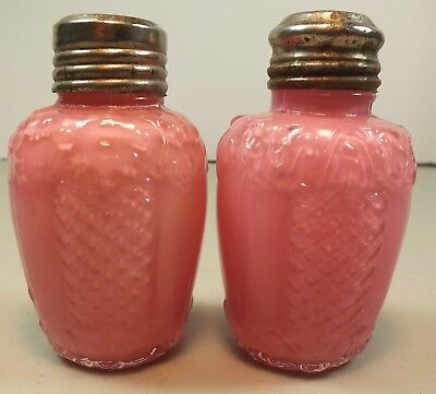 EAPG Antique Consolidated Scroll & Net Pink Cased Glass Salt & Pepper Shakers