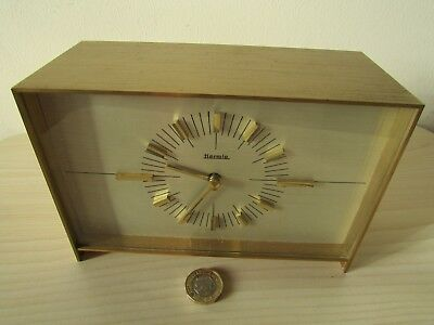 HERMLE VINTAGE 70's BRASS CLOCK, MADE IN GERMANY, HEAVY CLOCK.