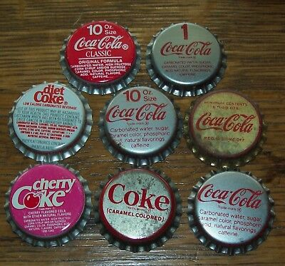 Lot of 8 different Vintage Coca Cola Unused Soda Pop Bottle Caps Cherry Coke