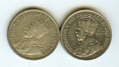 Canada 1919 Silver 25 Cents  Xf Pair