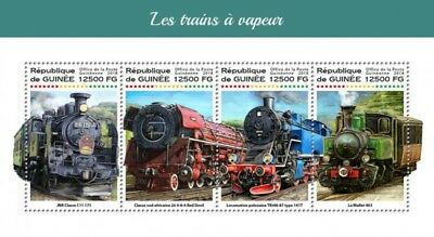 Guinea - 2018 Steam Trains on Stamps - 4 Stamp Sheet - GU18219a