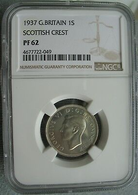 1937 Great Britain 1 Shilling NGC PF-62 SCOTTISH CREST