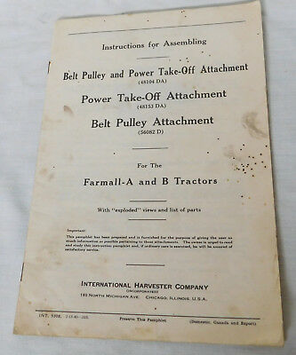 1940 Farmall International Harvester Belt Pulley Power Take Off Instructions