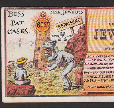 Milwaukee Lighthouse 1800's Jewelry Store Boss Gold Watch poem Advertising Card
