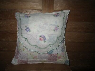 Primitive Quilted pillow -vintage linen with stitched flowers - pink/sage