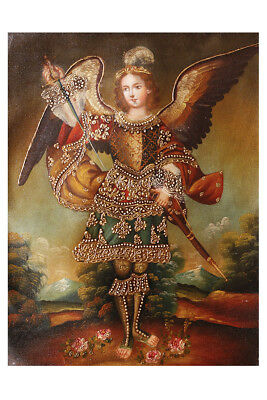 Archangel Adriel Angel Original Colonial Cuzco Peru Art Oil Painting On Canvas