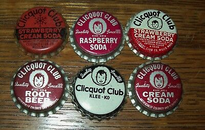 Lot of 6 different Vintage Clicquot Club Unused Soda Pop Bottle Caps Cork Lined