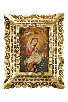 Virgin Mary Framed Handcarved Colonial Cuzco Peru Oil Painting on Canvas