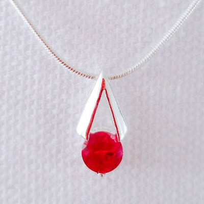 New 925 Sterling Silver Ruby Red  Pyramid Triangle Charm Pendant Necklace P1368A
