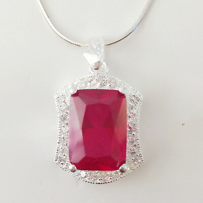 Nw 925 Sterling Silver Ruby Red Rectangle Crystal Charm Pendant Necklace PD1350A