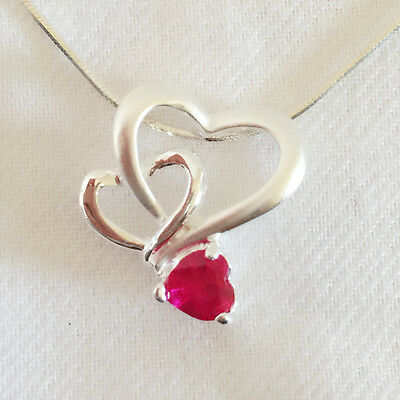 Nw 925 Sterling Silver Ruby Red Triple Heart Love Charm Pendant Necklace PD1153A