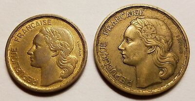 France 1950 two coin lot, 10 & 20 Franc coins