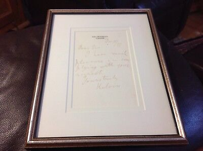 Lord Kelvin signed note on The University Glasgow stationery framed Dec11 /97