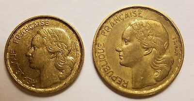 France 1952 two coin lot, 10 & 20 francs