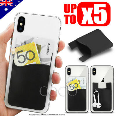 Silicone Mobile Phone Back Stick on Card Holder Wallet 3M Adhesive