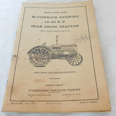 1927 Ih Mccormick-Deering 15-30 H.p. Gear Drive Tractor Parts Repair 98 Pages