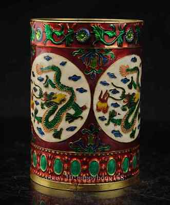 BOUTIQUE CHINESE CLOISONNE HANDWORK 4 DRAGON BRUSH POT d02