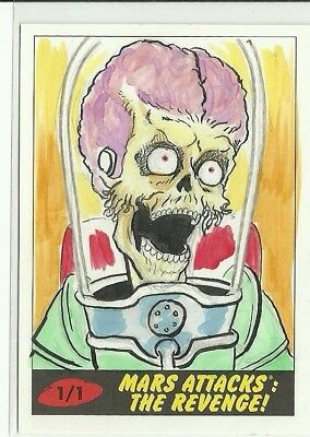 2017 Topps Mars Attacks The Revenge ! Martian Sketch Card by Andrew Lopez