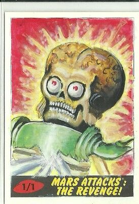 2017 Topps Mars Attacks The Revenge ! Martian Sketch Card by Sobot Cortez