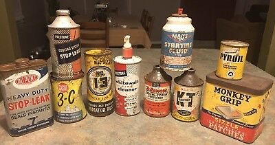 Lot Of Vintage Advertising Gas Station Auto Garage Collectible Cans
