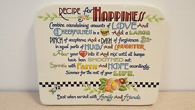 Mary Engelbreit Recipe For Happiness Ceramic Wall Plaque From 2003
