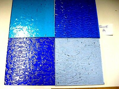 4 BLUE Stained Glass Hobby Sheets 100mm x 100mm x 3m  Quality Craft Items LOT A