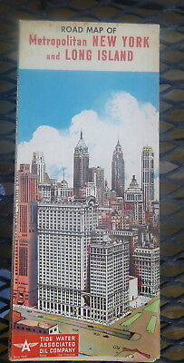 1953  New York City metro  road map Associated  Flying A  oil  gas Long Island