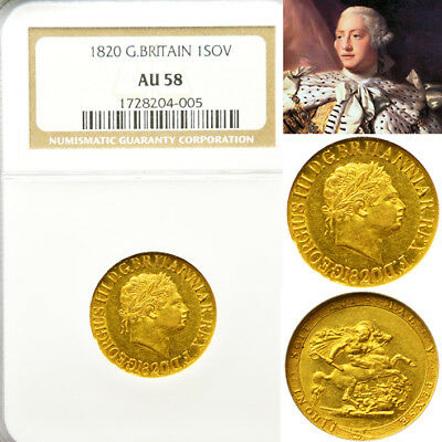 King George The Iii 1820 Gold Sovereign Ngc Au58..