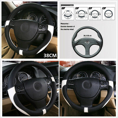 38CM Sport Top Layer Leather Car Steering Wheel Cover Environmental Protection